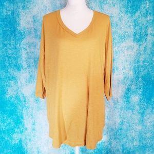 Super Soft V Neck Mustard Yellow Half-Sleeve Shirt